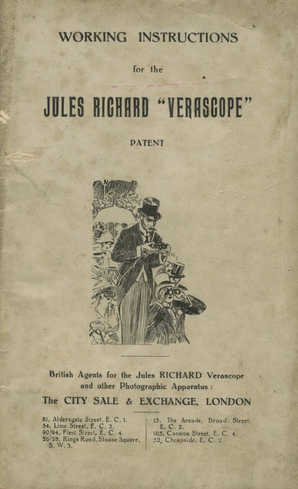 "WORKING INSTRUCTIONS FOR THE JULES RICHARD ""VERASCOPE"" PATENT. Jules Richard."