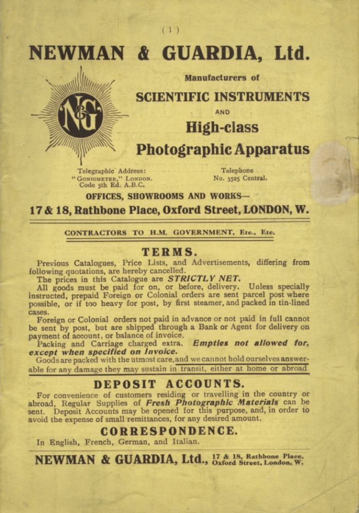 NEWMAN & GUARDIA, LTD.: MANUFACTURERS OF SCIENTIFIC INSTRUMENTS AND HIGH-CLASS PHOTOGRAPHIC APPARATUS.; [cover title]. Newman, Guardia.