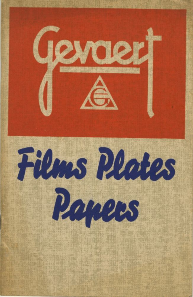 GEVAERT CATALOG PRICE LIST: FILMS, PLATES, PAPERS.; Corrected to May 25, 1939. Gevaert Company of America.