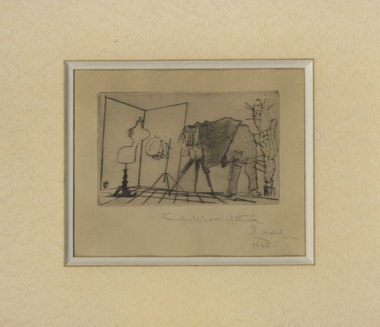 NEW YEAR'S GREETING FROM JOSEF SUDEK:; DRY POINT ENGRAVING. SUDEK, Frantisek Tichy.