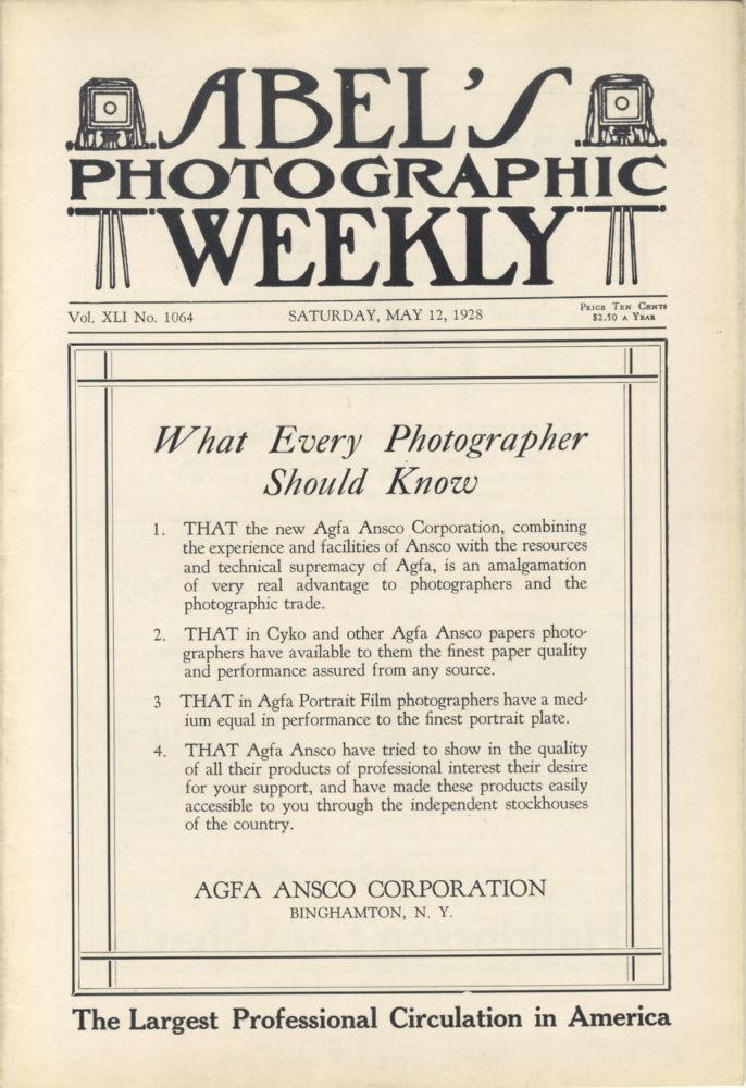 ABEL'S PHOTOGRAPHIC WEEKLY:; A JOURNAL FOR THE PROFESSIONAL PHOTOGRAPHER. Charles Abel.