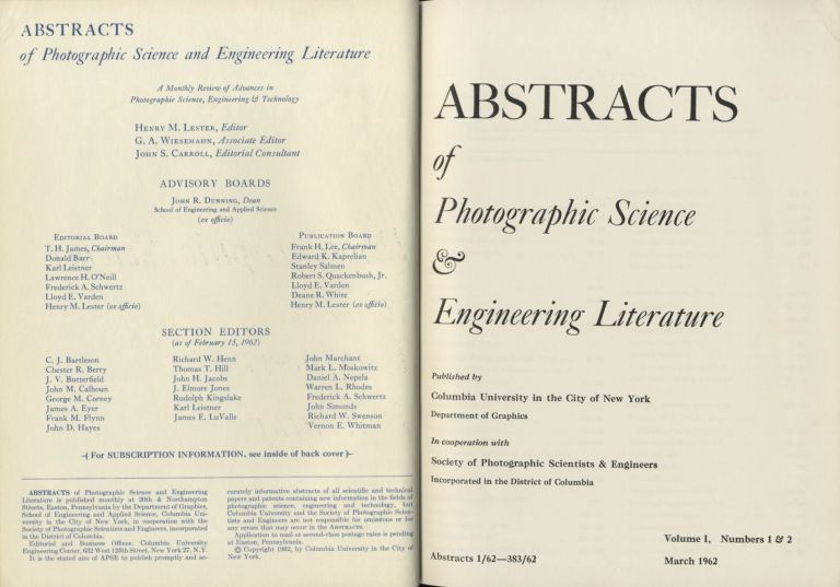 ABSTRACTS OF PHOTOGRAPHIC SCIENCE AND ENGINEERING LITERATURE. Henry M. Lester.