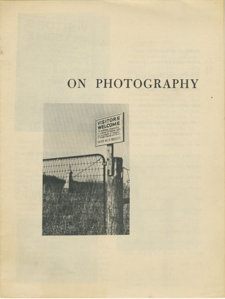 ON PHOTOGRAPHY [cover title]. Henry Holmes Smith.