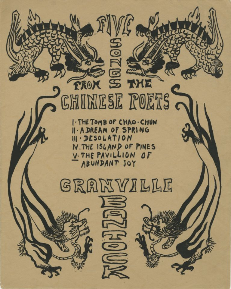 """FIVE SONGS FROM THE CHINESE POETS. SECOND SERIES.; English Text from """"A Lute of Jade"""" and """"A Feast of Lanterns."""" COVER DESIGN BY ALVIN LANGDON COBURN. COBURN, Granville Bantock, L. Cranmer-Byng."""