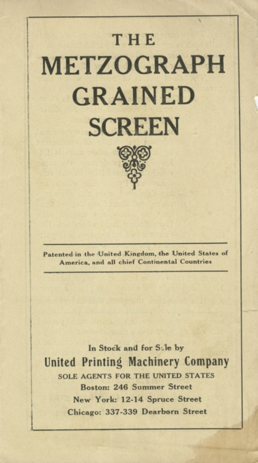 The Metzograph Grained Screen.; [cover title]. United Printing Machinery Company.