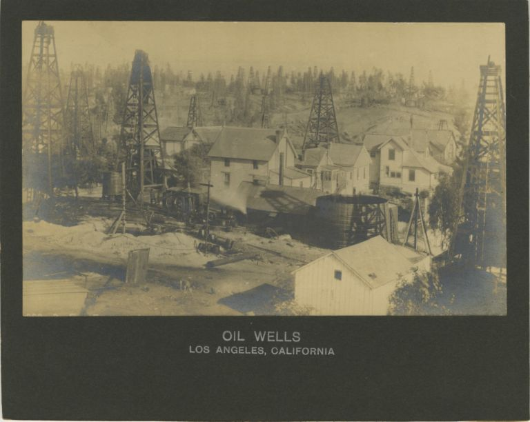 OIL WELLS, LOS ANGELES, CALIFORNIA.; [View overlooking oil field east from corner of First St. and Belmont Avenue]