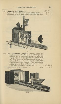 PRICE LIST OF CHEMICAL AND SCIENTIFIC APPARATUS AND PURE CHEMICALS MANUFACTURED AND SOLD BY BAIRD & TATLOCK...
