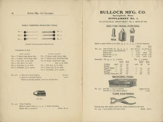 1903 ILLUSTRATED CATALOGUE AND PRICE LIST OF PRINTERS' AND ELECTROTYPERS' TOOLS MADE BY BULLOCK MANUFACTURING CO. SPRINGFIELD, MASS. DEPARTMENT NO.3