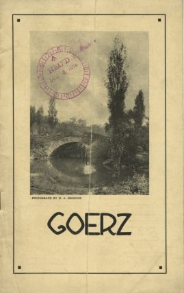 GOERZ.; [cover title]. C P. Goerz American Optical Co
