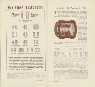 """A CATALOG OF COOKE ANASTIGMATS FOR FINE PHOTOGRAPHY, WITH """"HELPS TO PHOTOGRAPHERS"""""""