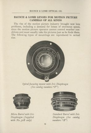 PHOTOGRAPHIC LENSES AND ACCESSORIES.; [cover title].