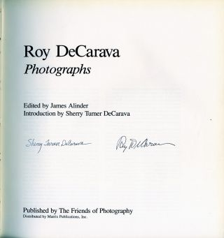 ROY DECARAVA: PHOTOGRAPHS.; Introduction by Sherry Turner DeCarava.