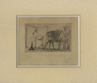 NEW YEAR'S GREETING FROM JOSEF SUDEK:; DRY POINT ENGRAVING. SUDEK, Frantisek Tichy