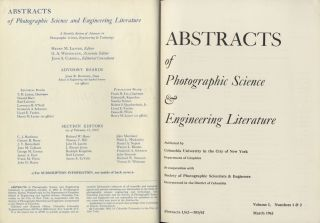 ABSTRACTS OF PHOTOGRAPHIC SCIENCE AND ENGINEERING LITERATURE. Henry M. Lester