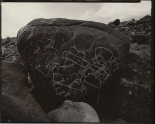 PETROGLYPHS OVER INSCRIBED WITH BUDDHIST SYMBOLS, LADAKH, INDIA, 1985. Linda Connor.