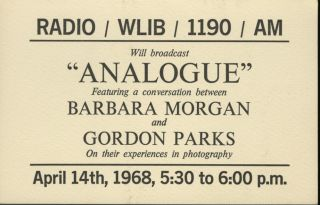 "RADIO / WLIB / 1190 / AM WILL BROADCAST ""ANALOGUE"" FEATURING A CONVERSATION BETWEEN BARBARA..."