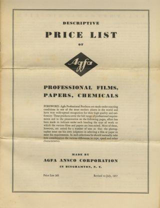 AGFA ANSCO MATERIALS FOR PROFESSIONAL PHOTOGRAPHIC USE: CAMERAS, PAPER, FILMS, CHEMICALS.; Catalog 54 P.